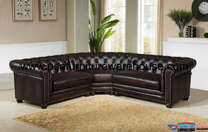 Kennedy Genuine Dark Brown 100% Leather Sectional