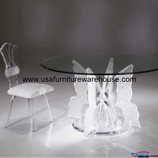 Acrylic Clear Butterfly II Round Dining Table