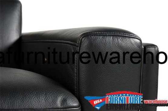 Ellie 100 Top Grain Black Leather Power Reclining Sofa