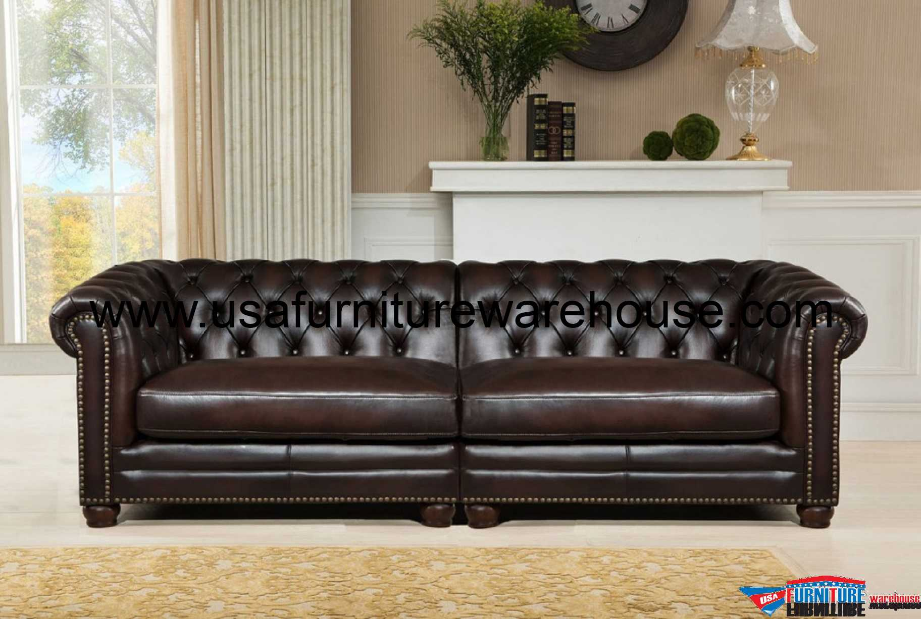 Kennedy Genuine Dark Brown 100 Leather Large Sofa Usa