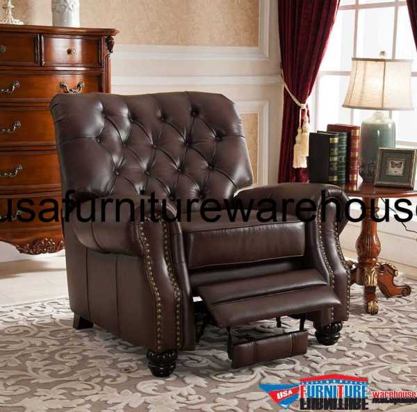 Marshall 100 Genuine Brown Tufted Leather Recliner