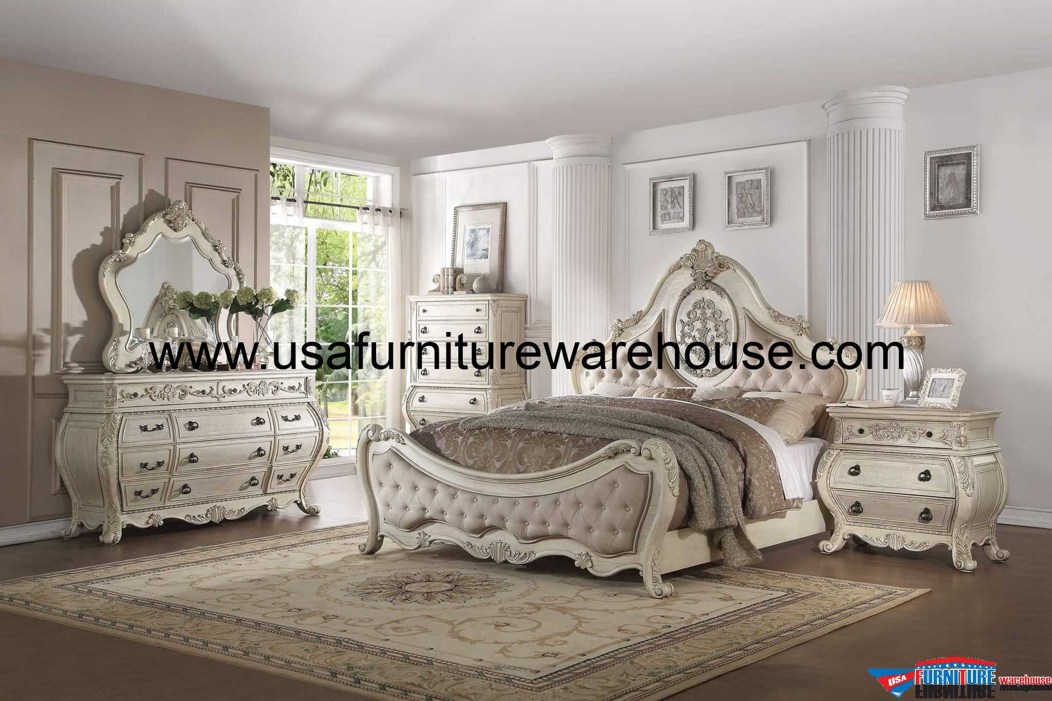 4 Piece Acme Ragenardus Antique White Bedroom Set - USA Furniture ...