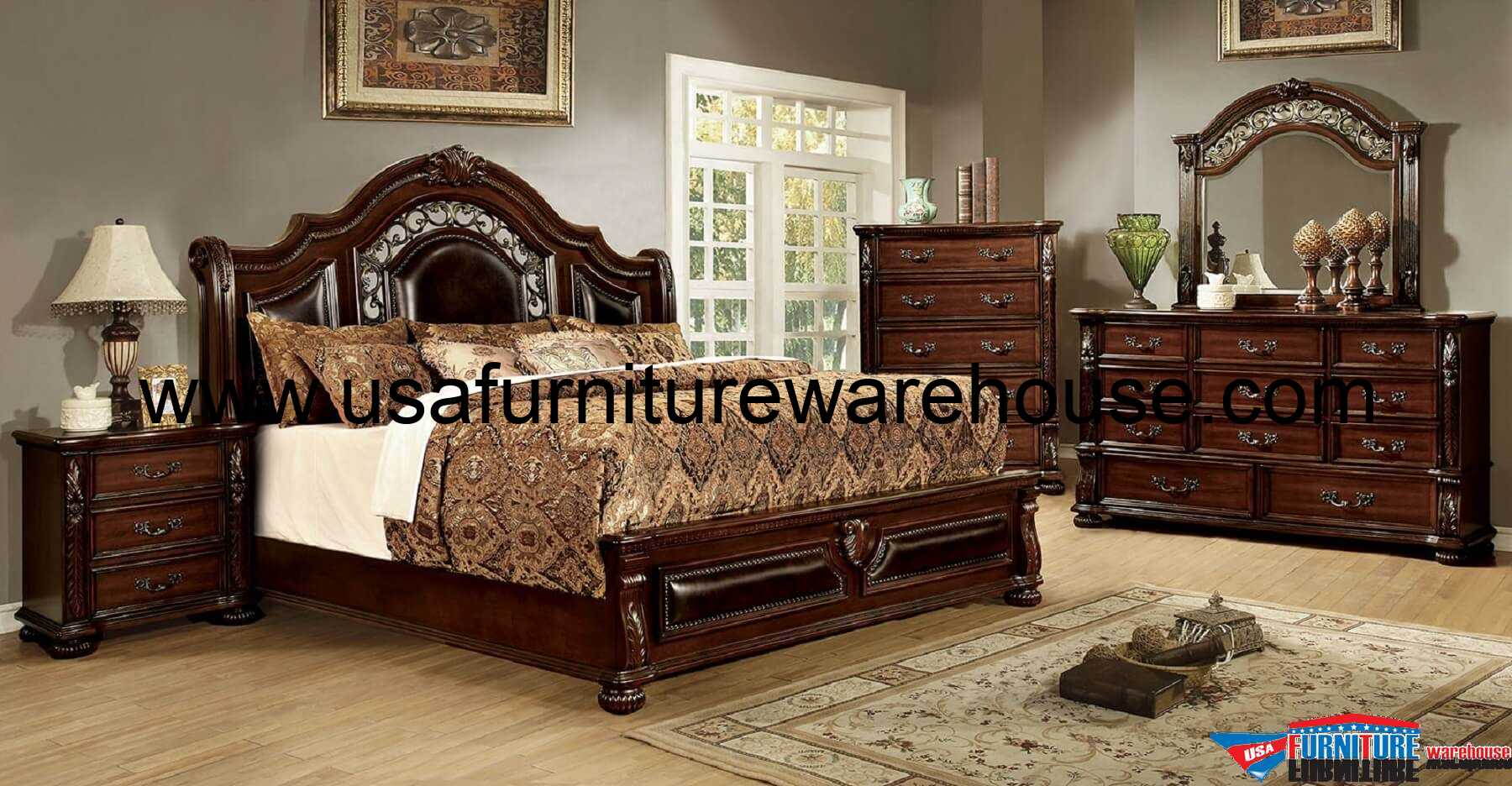 4 Piece Flansreau Traditional Bedroom Set Brown Cherry