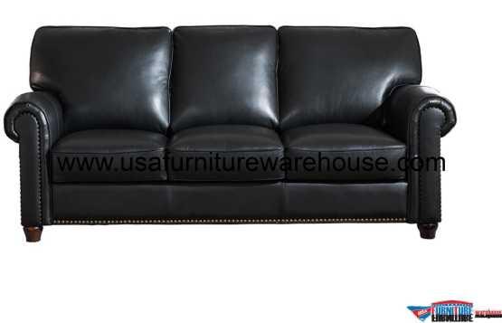 Barbara Black Leather Sofa