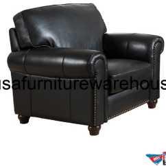 Full Grain Leather Chair And A Half Barbara Top Black Usa Furniture