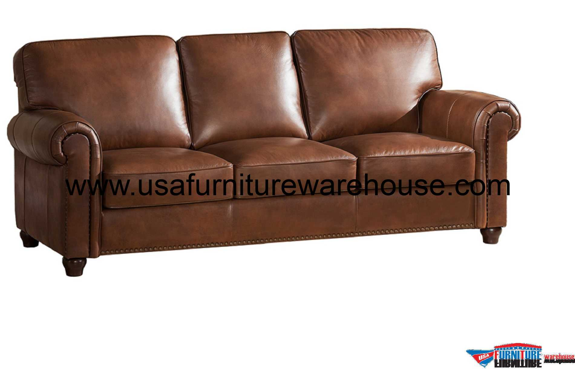 It doesn't get used as much so it doesn't have to be as comfortable. Barbara Full Top Grain Brown Leather Sofa - USA Furniture ...