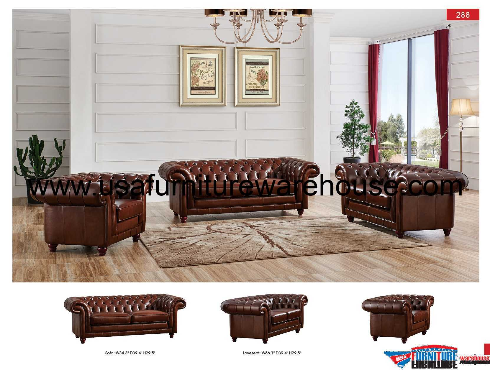 Chelsea Brown Italian Leather Sofa Set