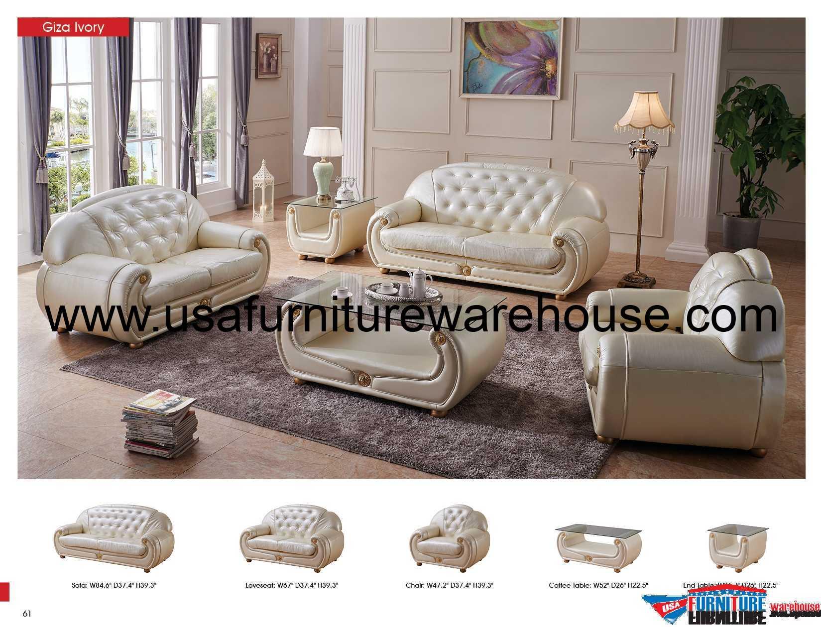 Giza Ivory Full Italian Leather Sofa Set