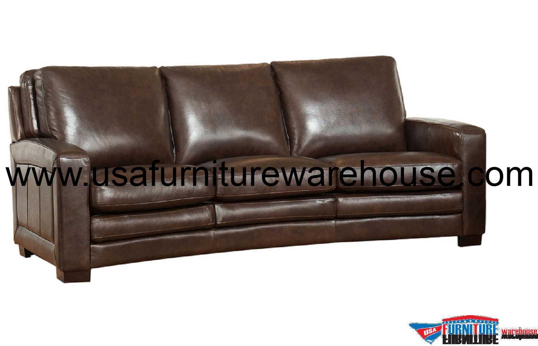 Joanna Full Top Grain Dark Brown Leather Sofa