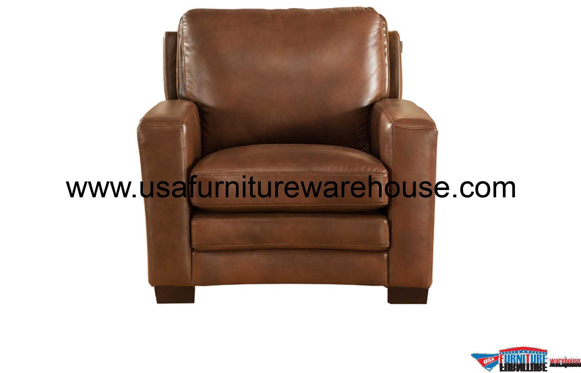 Joanna Full Top Grain Brown Leather Chair  USA Furniture