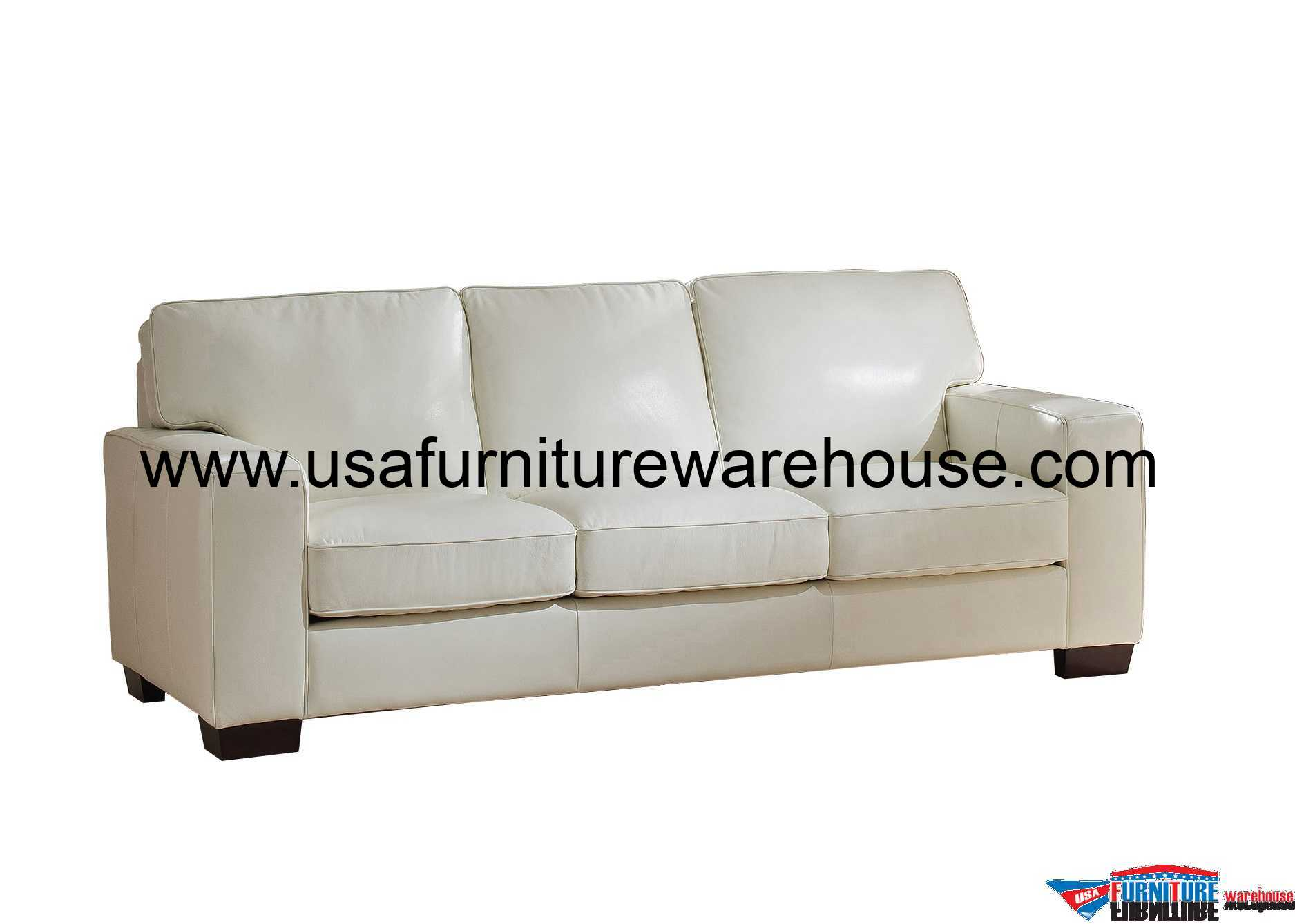 white leather sofa sale urban home sullivan kimberlly full top grain ivory
