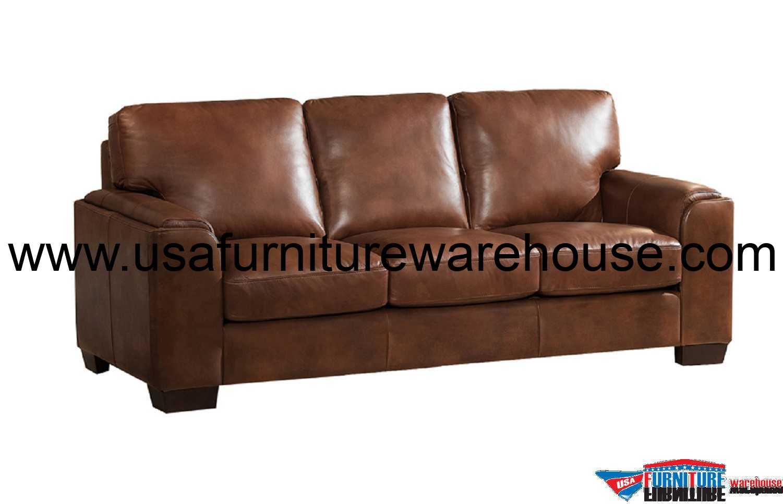 Suzanne Full Top Grain Brown Leather Sofa