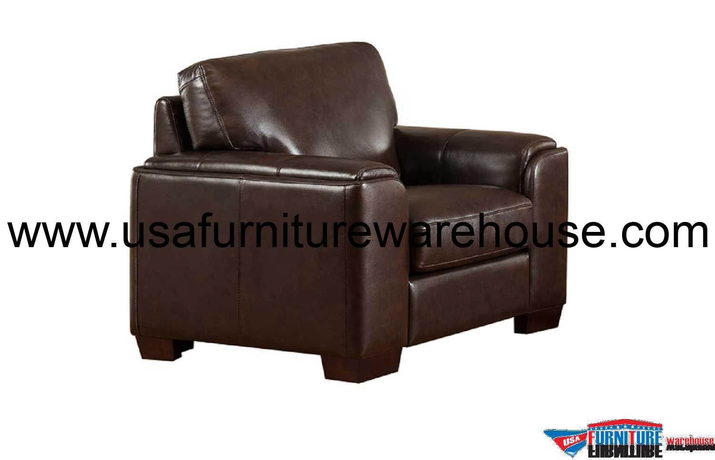 Suzanne Full Top Grain Dark Brown Leather Chair