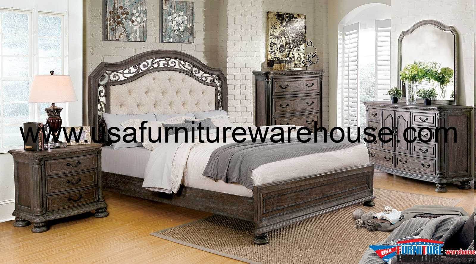 4 Piece Persephone Traditional Bedroom Set