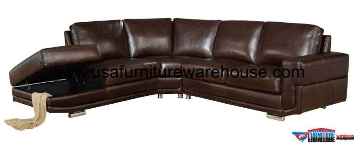 Cecile Dark Brown Leather Sectional