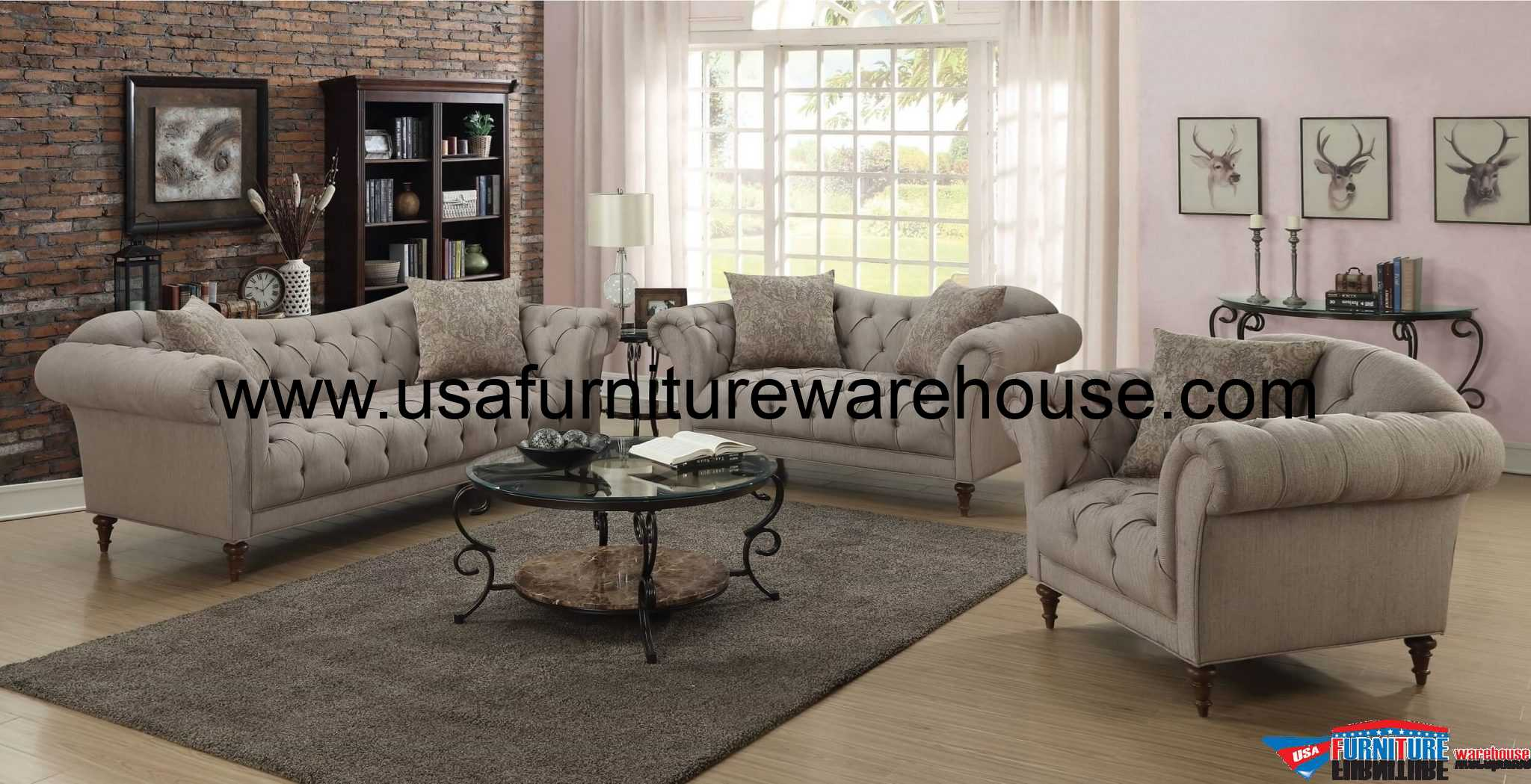tufted sofa set contemporary with chaise alasdair button fabric loveseat co 505572