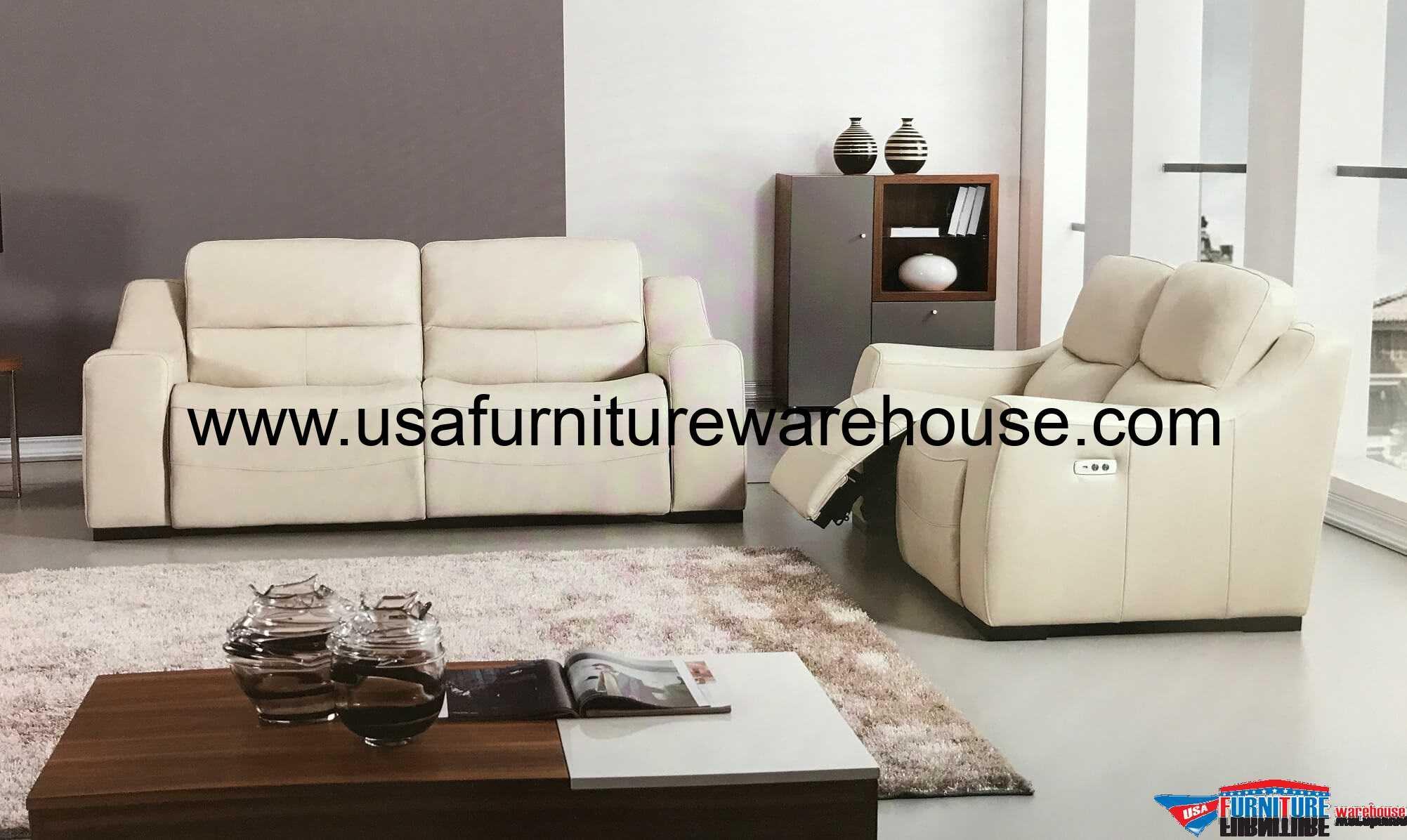 2 Piece Avana Full Italian Leather Power Recliner Sofa Set - USA ...