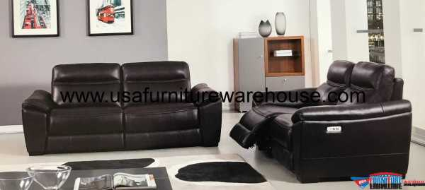 2 Piece Forma Full Italian Dark Brown Leather Power