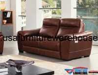 Forma Full Italian Brown Leather Power Recliner Loveseat