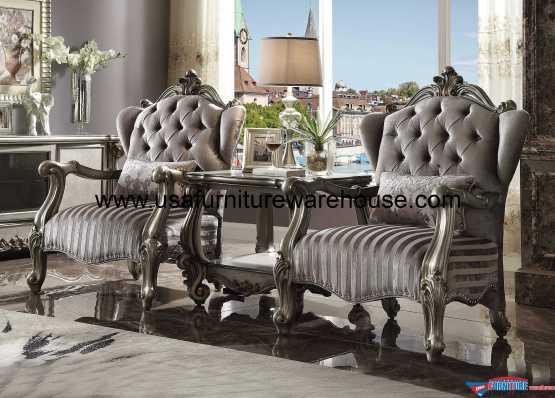 3 Piece Acme Versailles Antique Platinum Chair