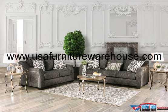 Coralie Charcoal Sofa Set