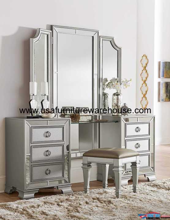 Avondale Mirrored Vanity Set