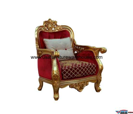 Bellagio II Chair Gold Red Fabric