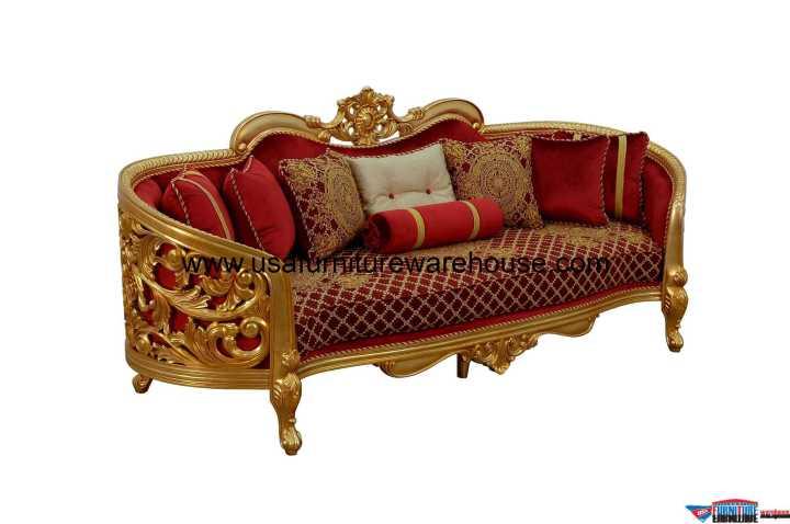 Bellagio II Sofa Gold Red Fabric