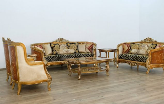 Luxor II Black Gold Sofa Set