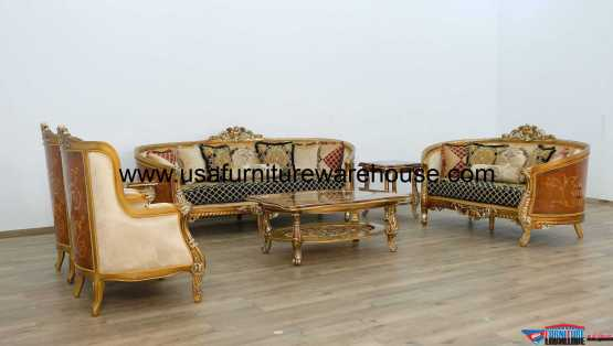 Luxor II Black Gold Sofa Set