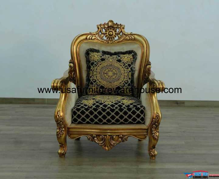 Bellagio Chair Damask Black Gold Fabric