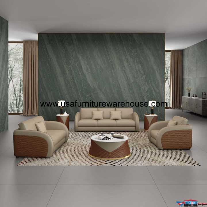Noir Modern Sofa Set Sand Beige & Brown Italian Leather