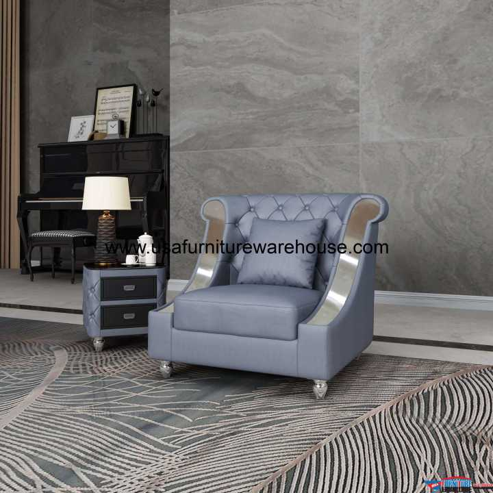 Mayfair Chair Premium Gray Italian Leather