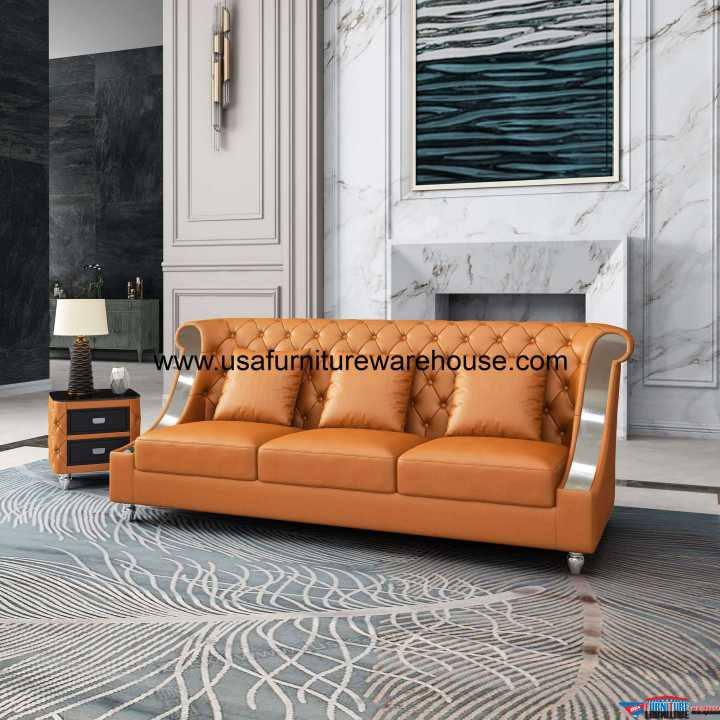 Mayfair Sofa Premium Cognac Italian Leather
