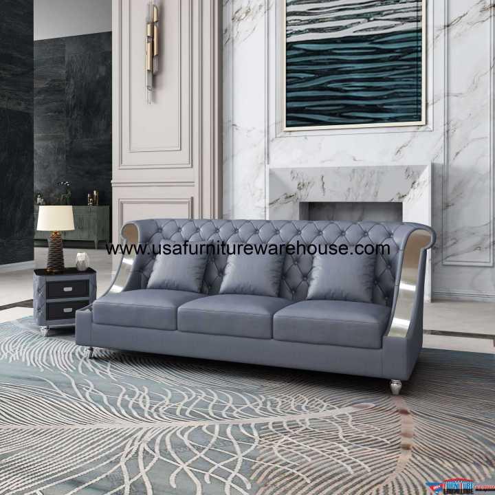 Mayfair Sofa Premium Gray Italian Leather