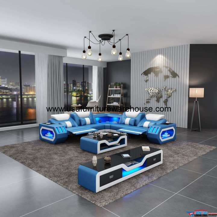 Spaceship LED Sectional Dual Recliner Blue italian Leather