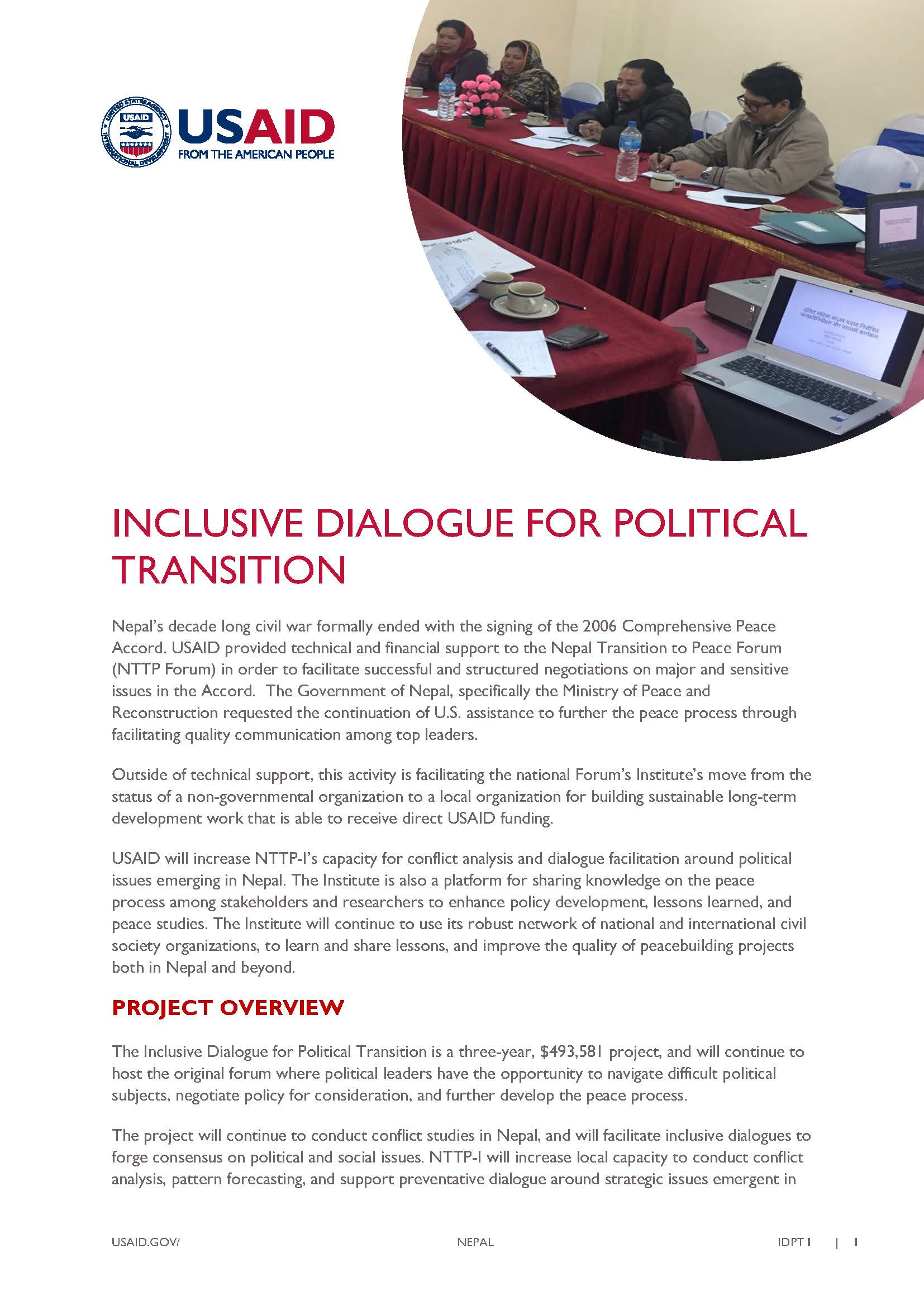 Fact Sheet: Inclusive Dialogue For Political Transition