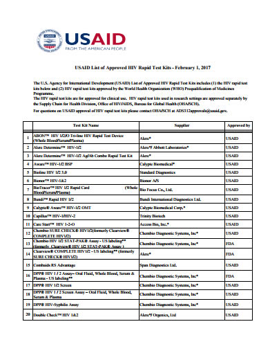 USAID List of Approved HIV and AIDS Rapid Test Kits  US