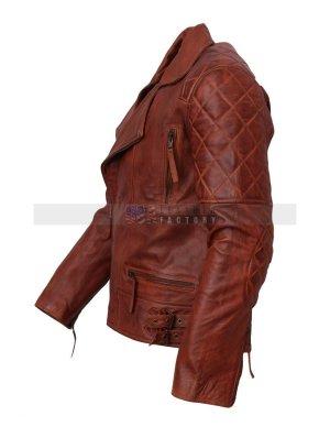 Designer Mens Brown Biker Leather Jacket For Sale Free Shipping