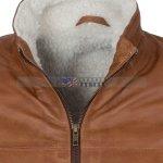 Men Brown Waxed Fur Lined Winter Leather Jacket Sale