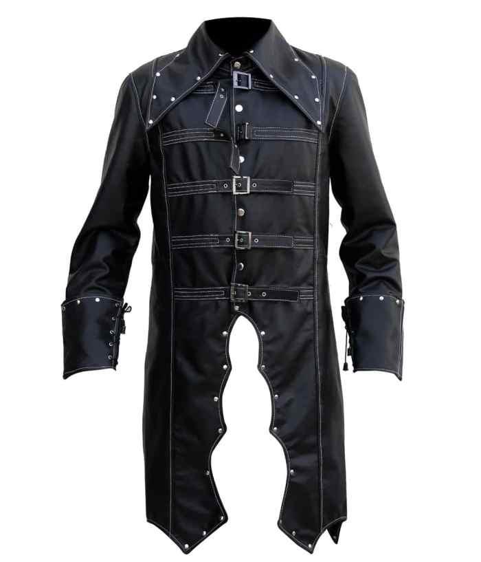 Mens Gothic Leather Coat Halloween Costume