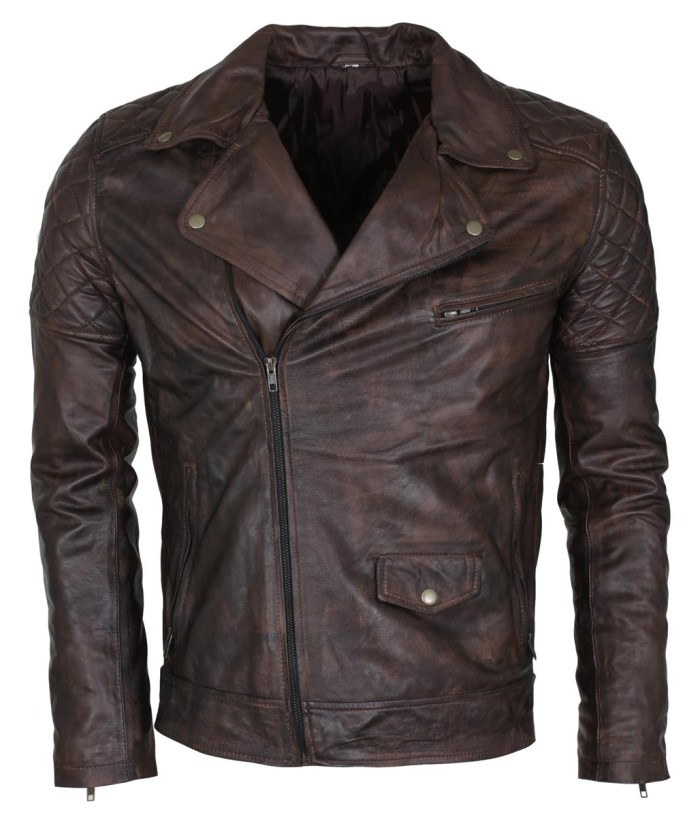 Mens Vintage Dark Brown Waxed Italian Style Leather Jacket