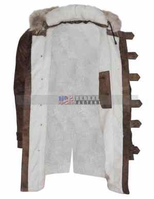Real Fox Fur Detachable Hood Bane Leather Coat