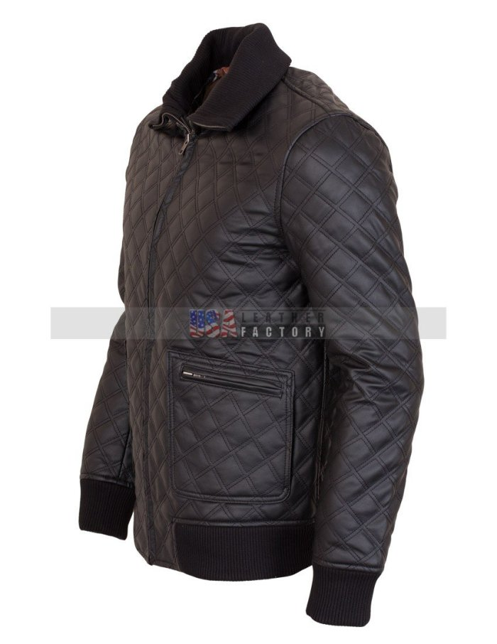 Casual Quilted Leather Jacket