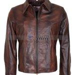 Antique Brown Mens Vintage Racer Leather Jacket Sale Black Friday UK Spain