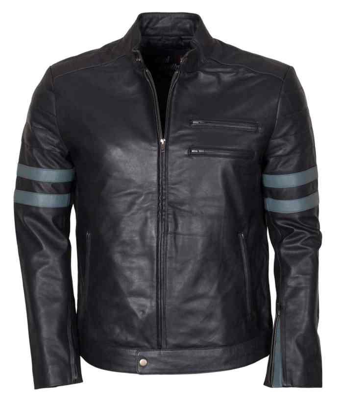 Designer Men Retro Black Biker Leather Jacket
