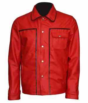 Elvis Presley Celebrity Red Vintage Leather Jacket for Men's
