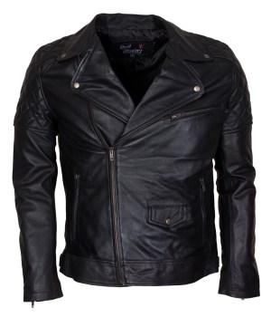 Men Brando Styled Black Biker Leather Jacket