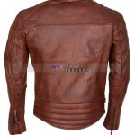 Mens Classic Diamond Brown Motorcycle Leather Jacket online Sale