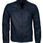 Blue Men Vintage Cafe Racer Genuine Leather Jacket